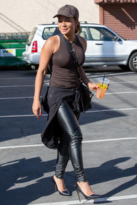 Christina Milian - Arrives At DWTS Practice Wearing Leather & Tight Tank Top (10/11/13)